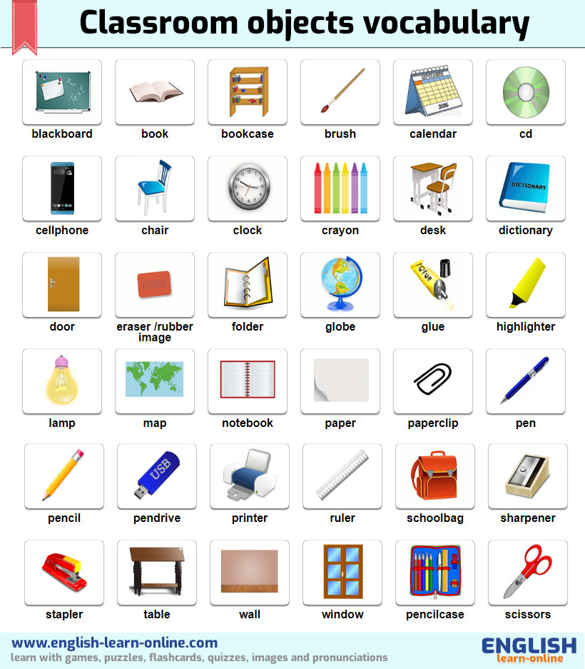 Classroom Objects Vocabulary in English - With Games Pictures and ...