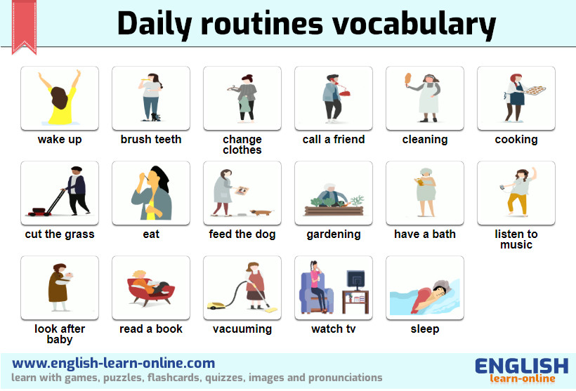 Daily Routines In English With Flashcards Games Pictures And Quizzes
