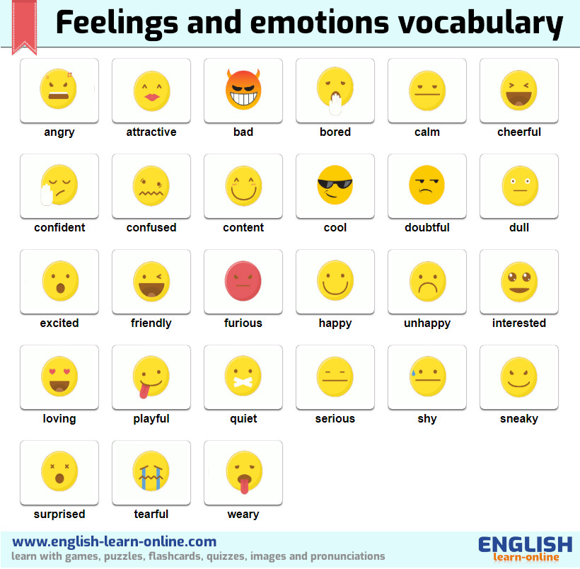 And feelings emotions of List of