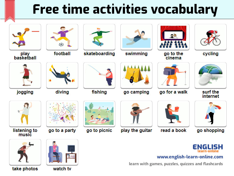 free time activities vocabulary image