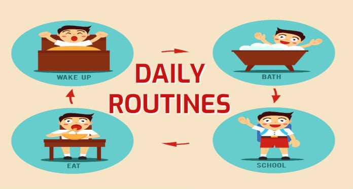 Daily Routines in English – With Flashcards Games Pictures and Quizzes