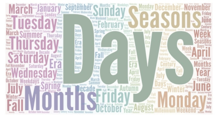 days months seasons vocabulary in English
